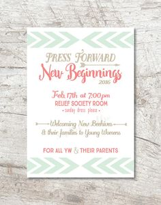 New Beginnings LDS Young Women Invitation and by sophieandlu