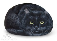 Irresistible Black Cat Painted on A Sea Stone от RobertoRizzoArt