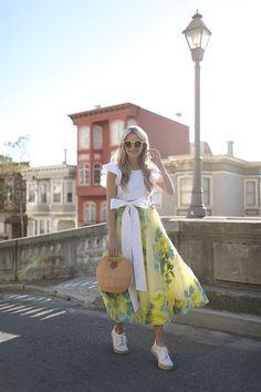 BACK IN SAN FRANCISCO // LELA ROSE SKIRT & BASKET BAG