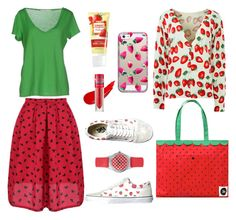 """strawberry girl ootd #ootd #strawberry"" by ndien-bgt on Polyvore featuring Vans, jucca, Forever 21 and Casetify"