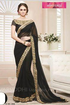 Pure georgette Black saree with designer blouse