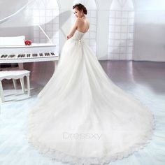 Chic A-line Strapless Empire Lace Wedding Dresses