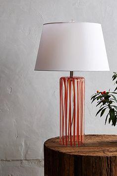 Orange ribboned glass table lamp