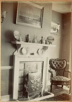 Delightful Edwardian parlour interior shot with picture of lion above fireplace and gas lights showing Edwardian Fireplace, Fireplace Pictures, Drawing Room Interior, Victorian Parlor, Antique Interior, Painted Chairs, Vintage Interiors, Vintage Decor, Furniture Decor