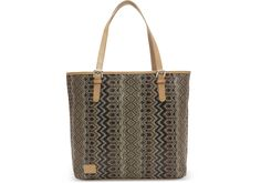 undefined Coffee Patterned Raffia Vacationer Tote