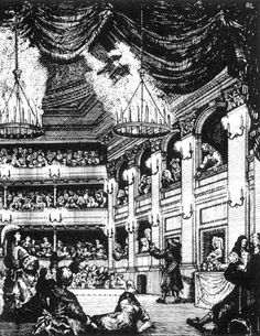 Lighting at Covent Garden Theatre. 17th century theatre lighting, chandeliers could be raised and lowered. Candles required constant upkeep because they would drip hot grease on the audience and actors.