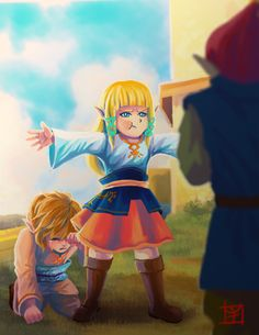"""jorael: """" Day 2: Protection Wanted to do tiny sky children. I based Zelda's dress from the unused concept art from Hyrule Historia and just switched up the color. (woops this is so late, but I had a ton of homework and a quiz to take care of..."""