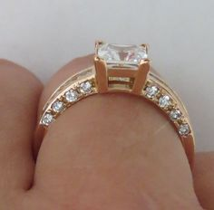 14K Solid ROSE Gold PRINCESS cut man made Diamond solitaire ENGAGEMENT ring  #SolitairewithAccents