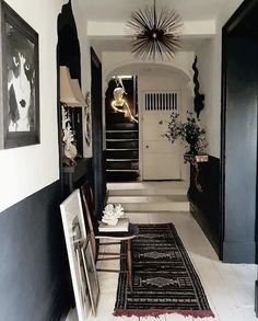 black and white walls by Painted Floorboards, Half Painted Walls, White Floorboards, Black Painted Stairs, Dark Walls, White Walls, Demis Murs, Black And White Hallway, Hallway Colours