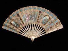 fan  1800  silk ivory and metal