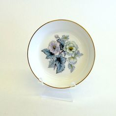 Vintage Royal Worcester small pin dish or butter by eclecticmoi (Home & Living, Kitchen & Dining, Dining & Serving, Plates, royal worcester, woodland, made in england, fine bone china, bone china plate, pin dish, small plate, butter plate, small round plate, floral design, blue and green, flowers, etsyau)