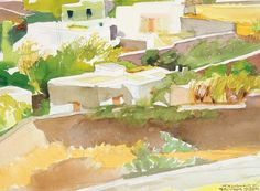 Houses by Panayiotis Tetsis Greece Painting, Greek Culture, Painter Artist, Post Impressionism, Greek Art, Art Database, Watercolor And Ink, Love Art, Contemporary Art