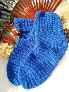 Socken, blau, Gr. 38/39 von Kathrin´s Häkelaccessoires byKBee auf DaWanda.com