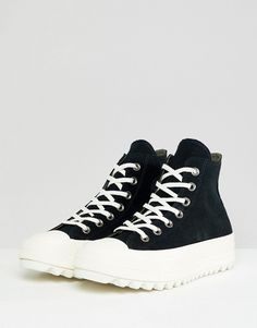 21d3317c371df6 Converse Chuck Taylor All Star hi lift ripple trainers in black