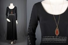 Black maxi dress lace bohemian gypsy hippie size S by sparrowlyn, $120.00