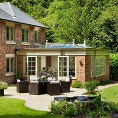 Timber & Glass Pool House, Home Decor, Orangery built at the rear of a contemporary country home. Orangery Extension Kitchen, Orangerie Extension, Kitchen Orangery, Garden Room Extensions, House Extensions, Natur House, Contemporary Country Home, Contemporary Garden, Modern Country