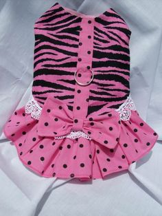 Pink+and++Black+Zebra+Ruffled+Dog+Dress+by+4everquilting+on+Etsy,+$12.00