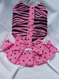 Pink and Black Zebra Ruffled Dog Dress. $12.00, via Etsy.