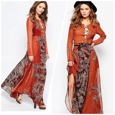 🎉HP TOTAL TRENDSETTER 10/6🎉 Paisley maxi dress Brown rust color maxi dress featuring a paisley print with lace up front. Side zipper. Dress is partially lined. Top part and sleeves are semi sheer. Size 6 US. Bust measures 36-37 inches, waist is 28 inches, length 59 inches. Polyester shell & lining. From the Glamorous line sold by ASOS. Color is more orange-brown as shown on actual pic of dress. Brand new in bag. Stock photos from ASOS.com ASOS Dresses Maxi