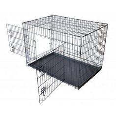 Aleko SDC-2D-42B Wire Mesh Dog Cage 42 inch Black, 2 Door