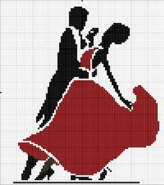point de croix femme dansant en robe de soirée - cross-stitch woman dancing in a gown