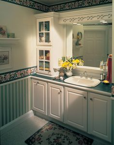 One of many design ideas for your bathroom from Merillat Cabinets, available at Zeeland Lumber & Supply. Cabinets And Countertops, Bath Cabinets, Kitchen Cabinets, Corian, Custom Cabinets, Kitchen And Bath, Design Inspiration, Design Ideas, Home Improvement