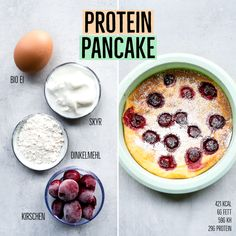 Ofen Pfannkuchen High Protein - low calorie oven pancakes with cherries for 421 calories Filling Low Calorie Meals, Low Calorie Meal Plans, Low Calorie Vegan, Healthy Low Carb Dinners, Healthy Snacks To Buy, No Calorie Foods, Low Calorie Recipes, Easy Snacks, Low Carb Breakfast Easy