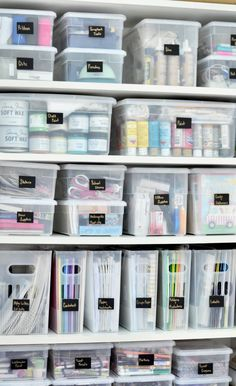 Organized Craft Closet This organized cabinet is full of office supplies and arts and crafts items for easy access for the entire family. It's a perfeclty organized craft closet! Craft Room Storage, Craft Closet Organization, Home Office Organization, Organize Craft Closet, Paper Storage, Craft Room Closet, Organizing Crafts, Closet Storage, Organising