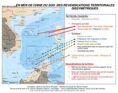 #Carte. En mer de Chine du Sud : des revendications territoriales dissymétriques Territoires insulaires. Revendications de la Chine. Conception général (2s) D. Schaeffer.