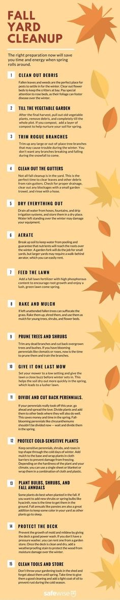 Fall Yard Cleanup Checklist. The more prep you do in the fall, the greener your lawn is come spring. And you'll be more likely to plant in the spring if everything is clean and ready!