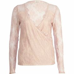 Light pink lace wrap top $20.00