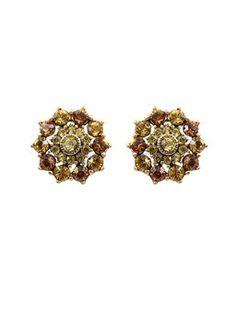 Jeweled Button Earring   Oscar de la Renta.