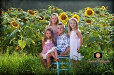 Miles and miles of sunflowers for these kiddos to explore- all while capturing fun images like this! Such a cute shoot idea.