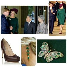 Fashion  Day 2 state visit Japan  Queen Maxima in the morning  The Queen is wearing a green dress by Natan hat is Fabienne Delvigne  Emerald earrings and a butterfly brooch (is in the royalfamily)  Shoes are from LK Bennet