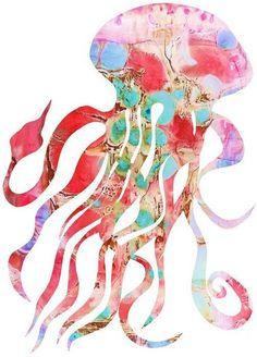 Nursery Art Print (Pink Jellyfish)  **on dictionary paper)?