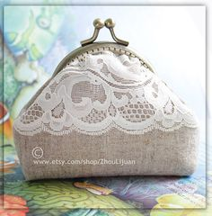 Items similar to lace metal frame coin purse handmade linen coin purse ready to ship one of a kind on Etsy Coin Purse Pattern, Purse Patterns, Bagan, Frame Purse, Purses And Handbags, Coin Purses, Cosmetic Bag, My Etsy Shop, Wallet