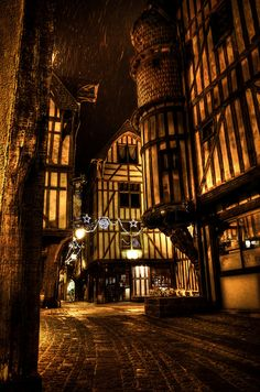 The streets of Troye, Aube, France la nuit ~ love the architecture