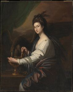 Mrs Worrell as Hebe, c.1775–78, Benjamin West; a cup, Hebe's symbolic attribute, and eagle, symbol of Zeus/Jupiter, identify the character as Hebe, divine cup-bearer to the Olympian gods. (Tate)