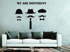 He encontrado este interesante anuncio de Etsy en https://www.etsy.com/es/listing/242951945/wall-decals-quote-we-are-different-decal