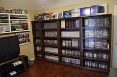 Gaming Room Video Game Shelves - via Racketboy user 8bit