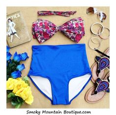 Floral Bow Retro High Waist Swimsuits Floral by SmokyMtnBoutique