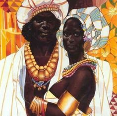 A king and a queen, just fashion with all the gold  that connects us to the Cosmos. -VOODOO PRIEST MAN