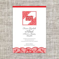 Printable Wedding Menu Template Inspired By Traditional Chinese