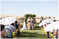 Outdoor Ceremony Yellow Flowers Paper Umbrellas   Taber Ranch Wedding - Capay Wedding Photographer - Ricky&Anjelica - Chico California Wedding Photography and Videography by Chico Photographer Videographer Couple TréCreative