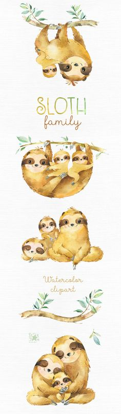 Sloth. Family. Watercolor animals clipart sleepy sloths | Etsy Diy Tattoo, Tattoo Ideas, Animal Set, Watercolor Tattoo Sleeve, Balance Tattoo, Sloth Tattoo, Sleepy, Babyshower, Aquarell Tattoo