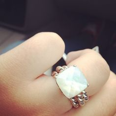 Pandora mother of pearl with 2 stack rings