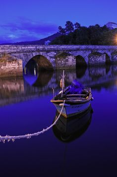 Pontesampaio bridge at night, Pontevedra, Galicia, Spain Gah!!! If I seriously don't end up going to Spain, I'm gonna die! It's so gorgeous, <3 it