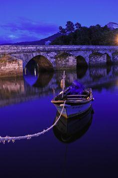 Pontesampaio bridge at night, Pontevedra, Galicia, Spain
