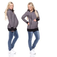 Viva la Mama | The 3in1 gray long-sleeved nursing & maternity hoodie FERIS Active is your perfect companion for maternity, pregnancy, baby wearing and everyday use. The baby carrying hoodie keeps your baby warm, close and save :)