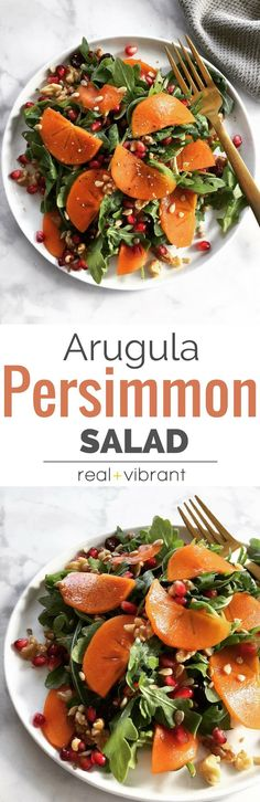 Arugula Persimmon Salad - Fall inspired salad with all the delicious parts of Autumn combined into one salad. Refreshing, light, and delicious! | www.realandvibrant.com